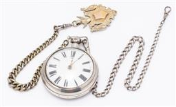 Sale 9180E - Lot 44 - A sterling silver encased pocket watch on silver chain and a shield form charm, Birmingham, total combined weight 227.7g