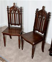 Sale 8088A - Lot 100 - A pair of antique French Gothic oak side chairs