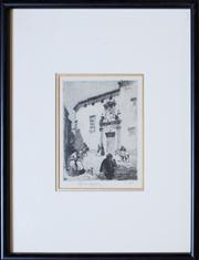Sale 8284A - Lot 13 - Lionel Lindsay - Spanish Street Scene 13 x 9cm