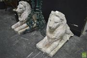 Sale 8299 - Lot 1001 - Pair of Concrete Lion Figures