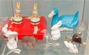 Sale 8470H - Lot 354 - A shelf lot of animalia including Bunnykins plate and pill boxes
