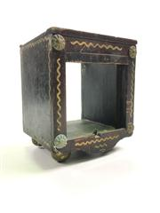 Sale 8539M - Lot 119 - Antique Magicians Die Box. Intricate retractable action with pulley revealing dice, on brass feet