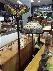 Sale 8532 - Lot 1074 - Pair of Leadlight Standard Lamps