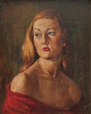 Sale 8813 - Lot 590 - Clive Guthrie (1910 - 1971) - Red Dress, 1964 (possibly Portrait of Bessie Guthrie) 29.5 x 39.5cm