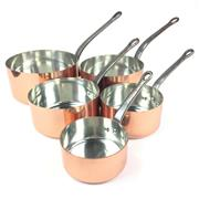 Sale 8872C - Lot 41 - Good Set of 5 French Copper Saucepans, diameter of largest - 20cm