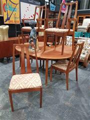 Sale 8930 - Lot 1027 - Nathan Teak 7 Piece Dining Setting incl. Table and Six Chairs
