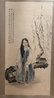 Sale 8980S - Lot 657 - Chinese Scroll of a Lady, Ink and Colour on Paper