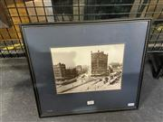 Sale 8998 - Lot 2035 - A reproduction photograph of George St. at Railway Station, c1911, frame: 35 x 40cm