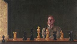 Sale 9096 - Lot 515 - Peter Serwan (1962 - ) Self Portrait as a Chess Tragic 2009 oil on canvas 42 x 78.5 cm (frame: 55 x 91 x 4 cm) signed, dated and ins...