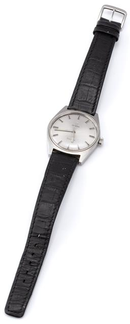 Sale 9124 - Lot 378 - A VINTAGE OMEGA WRISTWATCH; in stainless steel with sunburst silver dial, applied markers, centre seconds 17 jewel cal. 601 manual m...