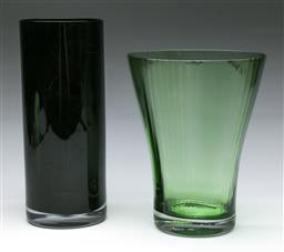Sale 9164 - Lot 423 - Cylindrical black glass vase (H:26cm) together with a green glass example (H:21cm)