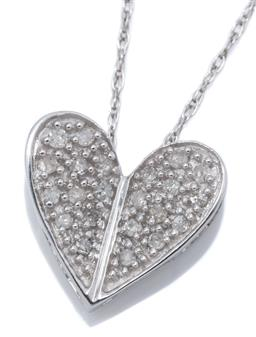 Sale 9169 - Lot 385 - A 10CT WHITE GOLD DIAMOND PENDANT NECKLACE; 11 x 10mm heart pendant set with 22 single cut diamonds totalling 0.10ct on twisted Prin...