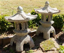 Sale 9248H - Lot 301 - A pair of stoneware lanterns Japanese style height 70 x width 50cm