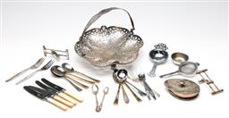 Sale 9254 - Lot 2279 - A collection of silverplated ware incl. cutlery and basket (Dia:22.5cm)