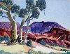 Sale 3847 - Lot 24 - OTTO PAREROULTJA (1914-1973) - Central Australian Landscape with Ghost Gums 28 x 26 cm