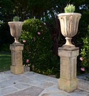 Sale 8088A - Lot 1 - Pair of composite urns on stands on stands height 130