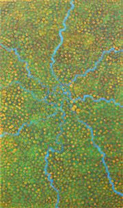 Sale 8174A - Lot 530 - Josie Petrick Kemarre (1945 - ) - Bush Seed 150 x 90cm (framed and ready to hang)