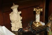 Sale 8236 - Lot 17 - Japanese Painted Candlestick with 2 Chinese Figures