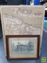 Sale 8548 - Lot 2107 - Collection of Prints & Pictures incl NSW Railway Map 1934 and signed sketch by T.A Oldfield, Steyning Lodge, dated 1895