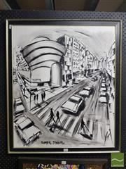 Sale 8552 - Lot 2052 - Tavaloli Modernist Cityscape Framed Acrylic on Board