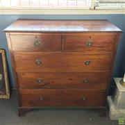 Sale 8649R - Lot 154 - Edwardian Mahogany Chest of Five Drawers with Bronze Handles and Timber Inlay on Drawers (H: 106.5 W: 106.5 D: 49.5cm)