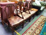 Sale 8648 - Lot 1040 - Set of Four Timber Chairs with Studded Trim & Leather Upholstered Seat incl. Two Carvers