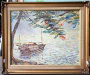 Sale 8750 - Lot 2006 - Artist Unknown (Vietnam) - Fishing Canoes oil on canvas board, 40 x 50cm, signed and dated lower right -