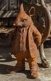 Sale 8745A - Lot 25 - A cast iron Mr. Rat statue from The Wind in The Willows, H 43cm