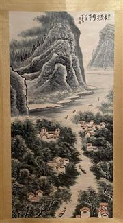 Sale 8968 - Lot 14 - Chinese Landscape Scroll, Ink and Colour on Paper