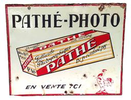 Sale 9142A - Lot 5025 - Original 1930s enamel advertising sign for film company for PATHÉ - PHOTO (double sided, same designe both sides), 41 x 50cm