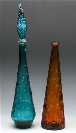 Sale 9168 - Lot 44 - Coloured glass lidded blue bottle and an orange example (no lid)