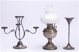 Sale 9185E - Lot 143 - A Hardy Brothers three branch candelabrum together with a kerosene lantern and another, tallest Height 39cm