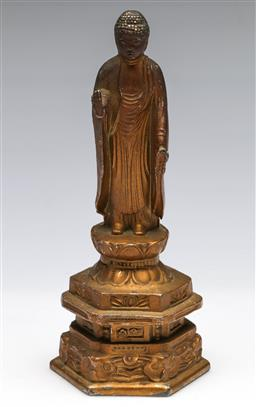 Sale 9173 - Lot 61 - A Chinese cast metal Buddha, as found with some losses H18cm