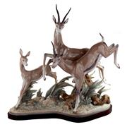 Sale 8000 - Lot 361 - An impressive Lladro animalier group of Grants gazelles prancing, printed and painted marks to base, numbered 729.