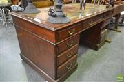 Sale 8277 - Lot 1051 - Possibly Victorian Double Pedestal Desk, with Tooled Olive Leather Top & Nine Drawers