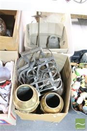 Sale 8478 - Lot 2220 - 2 Boxes of Metal Wares incl Copper Coffee Pots & Lamp Bases
