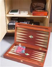 Sale 8486A - Lot 95 - Two shelf lots of game related wares including playing cards, backgammon board, and bridge notepads