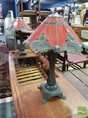 Sale 8532 - Lot 1081 - Pair of Leadlight Shade Table Lamps