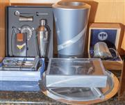 Sale 8562A - Lot 117 - A quantity of party essentials including cocktail shaker, cocktail makers, corkscrew stopper set, win chiller, stainless steel and g...