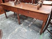 Sale 8868 - Lot 1063 - 19th Century Long French Oak Work Table, with two frieze drawers & six turned legs