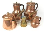 Sale 8931C - Lot 67 - 4 Copper Coffee Pots and Small Brass Measure (height of tallest 25cm)