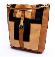 Sale 8921 - Lot 43 - AN ANYA HINDMARCH PATCHWORK LEATHER PERRY TOTE BAG; in horse hair, camel and tan leather with rolled handle and gold tone hardware,...