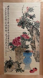 Sale 8980S - Lot 644 - Chinese Scroll of Flowers, Ink and Colour on Paper