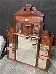 Sale 9068 - Lot 1041 - Stained Pine Late Victorian Overmantle Mirror, with carved panels & small shelves, supported by central columns