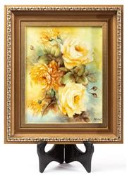 Sale 9083N - Lot 96 - A framed hand-painted tile by Merglis? depicting yellow roses. Frame size 35 x 30cm