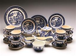 Sale 9122 - Lot 57 - Willow Ware Blue and White Dinner Wares