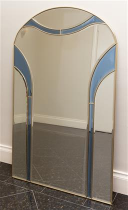Sale 9165H - Lot 76 - A bevelled edge panelled gold framed mirror Height 122cm x Width 76cm