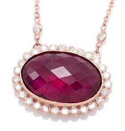 Sale 9209J - Lot 380 - AN 18CT ROSE GOLD RUBELLITE AND DIAMOND NECKLACE; set with an oval shape chequerboard cut rubellite tourmaline of approx. 9.18ct to...