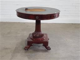 Sale 9196 - Lot 1073 - Early 19th Century Probably Northern European Mahogany Drum or Rent Table, with tooled green leather top (extensively damaged), fitt...