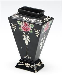 Sale 9253 - Lot 20 - A black ground Shelley vase featuring roses (H:15cm)